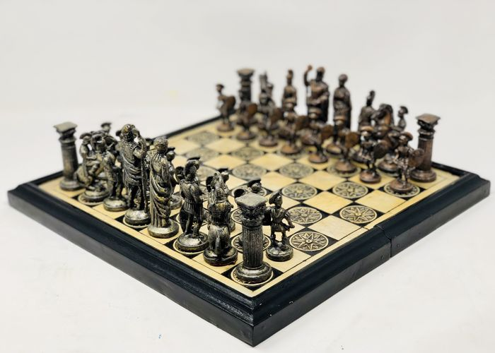 Classic Greek chess of stone and metal