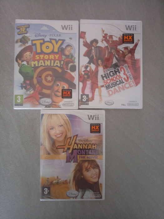 Wii games Hanna Montana , High School Musical and Toy Story Mania