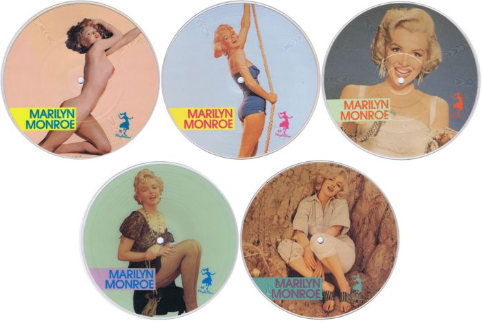 "MARILYN MONROE - lot of 5 x 7"" picture discs (PD Series) EU 1987 Limited Edition 1000 copies"