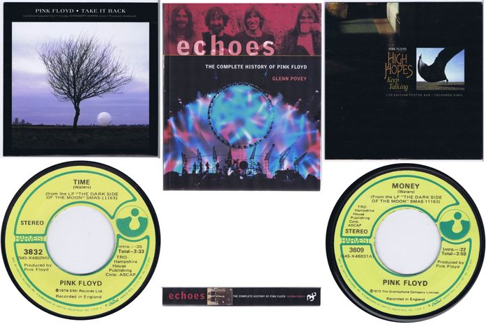 PINK FLOYD - lot of 4 original singles, 2 x w/PS plus 1 x book: Echoes: The Complete History Of Pink Floyd (368 pages) by Glenn Povey