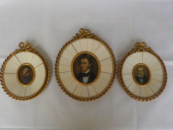 3 miniature paintings (composers) on ivory - Germany - ca. 1900-1920