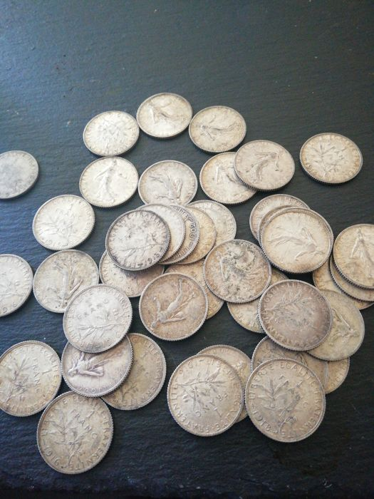 France - 1 Franc 1899/1919 Semeuse (lot of 43 coins) - Silver