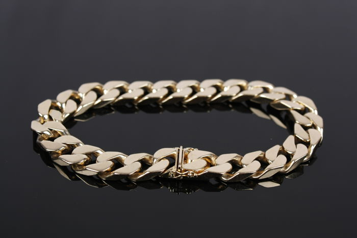 Heavy King's braid link Bracelet - Solid 14 kt Yellow Gold - Men's - Size: 23.00 cm