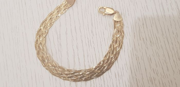 Women's bracelet in 18 kt gold, length 20 cm
