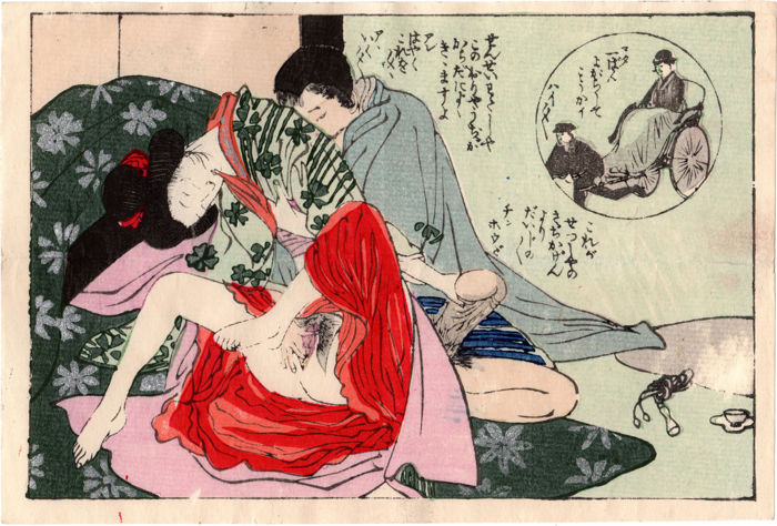 Original shunga woodblock print by an unknown artist of the Taisho Period - City Life - Japan - ca. 1920