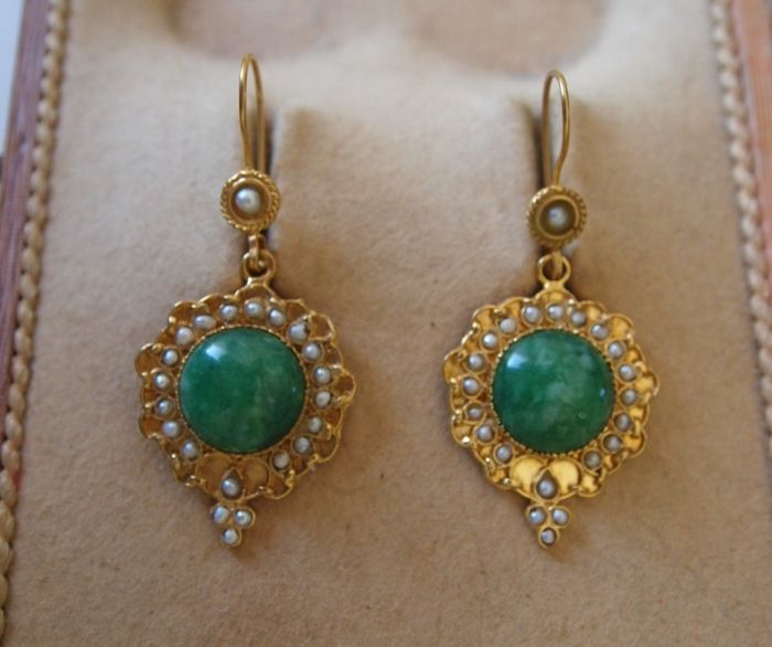 Italian earrings 24 kt gold plated on silver 800, Amazonite, seed pearls