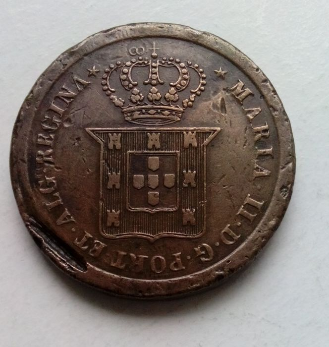 Portugal - Monarquia - D. Maria II ( 1834-1853 ) - 40 Reis (Pataco) -  1833 - Lóios (Porto) - Escassa - Bronze