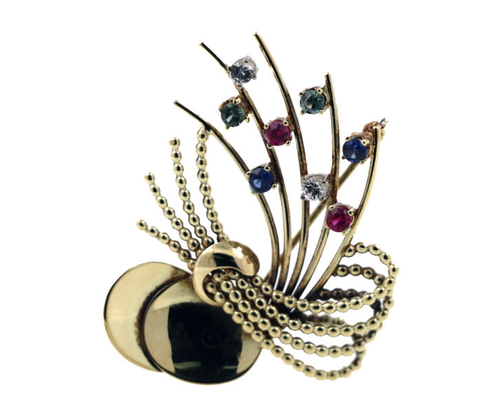 14 kt yellow gold brooch with a total of 0.20 ct of diamonds and approx. 0.30 ct sapphire, 0.30 ct ruby and 0.30 ct tourmaline - size: 33 x 43 mm