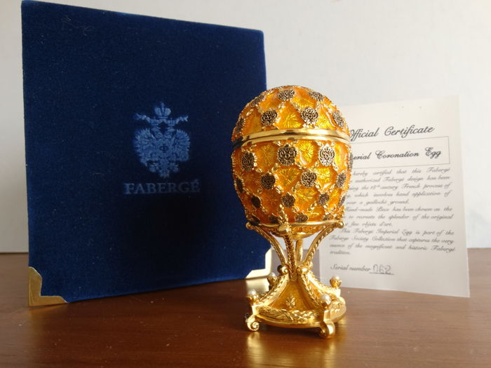 Faberge Imperial Coronation egg- Imperial egg - Numbered - authentic  - 24 k gold finish + COA