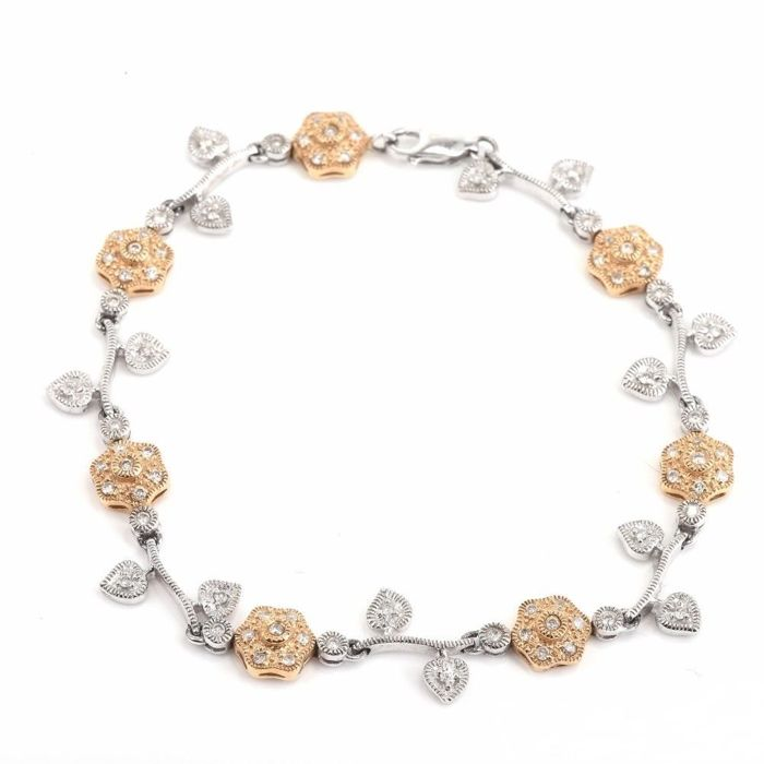 Gold flower-link bracelet with diamonds of 1.50 ct, 12.6 g