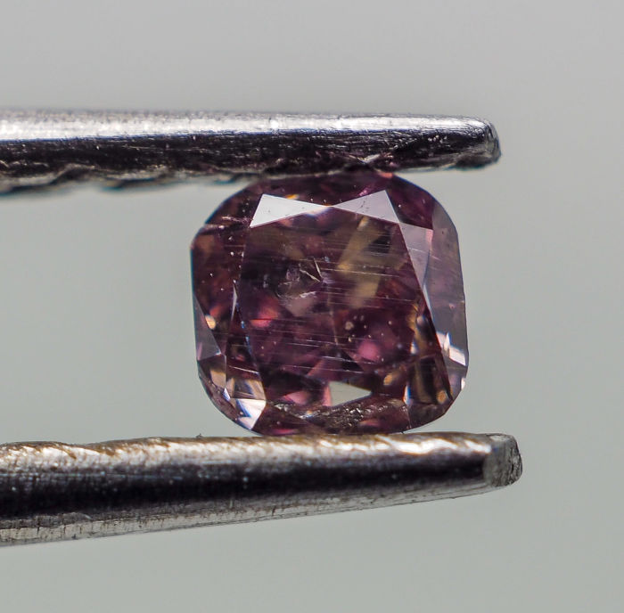 0.09 ct - Natural Fancy Diamond - Purplish Pink - SI2 *NO RESERVE*