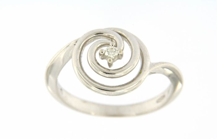 Spiral solitaire ring by 'Bliss', in 18 kt (750/1000) white gold - 0.05 ct diamond - weight: 3.5 g - size: 13 (IT)