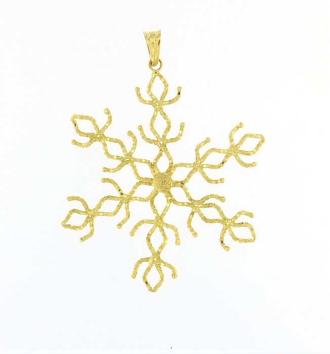 Satinised flower pendant, made in Italy, in 18 kt (750/1000) yellow gold - weight: 5.8 g Length: 5.9 cm