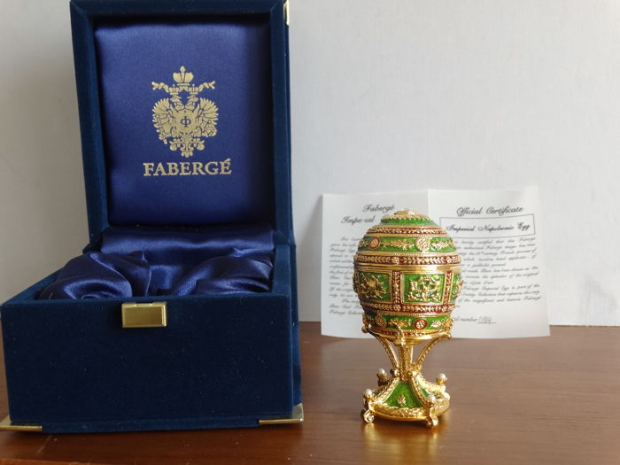 Faberge Imperial Napoleonic egg- Imperial egg - Numbered - authentic  - 24 k gold finish + Certificate of Authenticty
