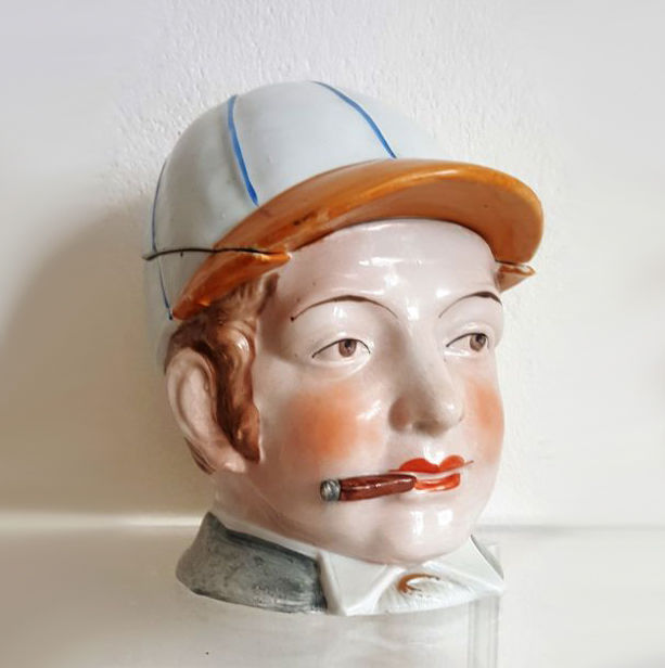 N.N. antique tobacco jar humidor ceramic Jockey