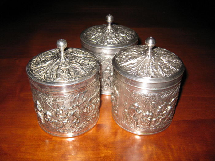silver tea containers