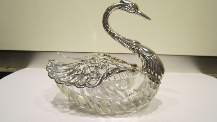 Large silver and crystal swan, circa 2000