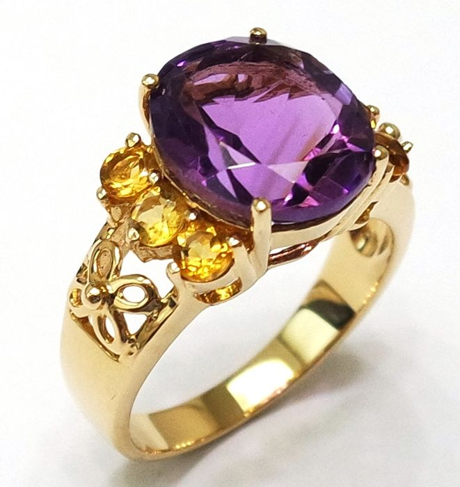 Amethyst & Citrine 14KT Yellow Gold Ring ,Size N 1/2