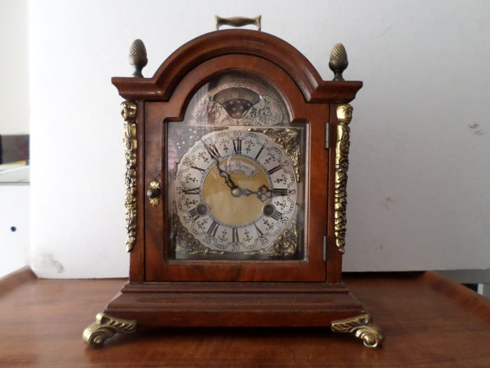 Walnut Westminster table clock with moon phase - John Thomas LOndon /