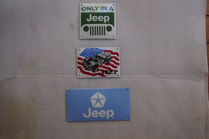 3 emaille borden JEEP