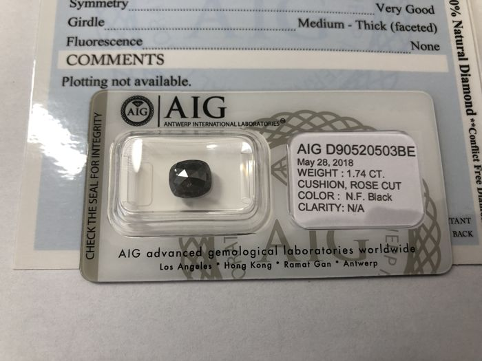 1.74 ct Certified Natural Fancy Black Diamond - LOW RESERVE