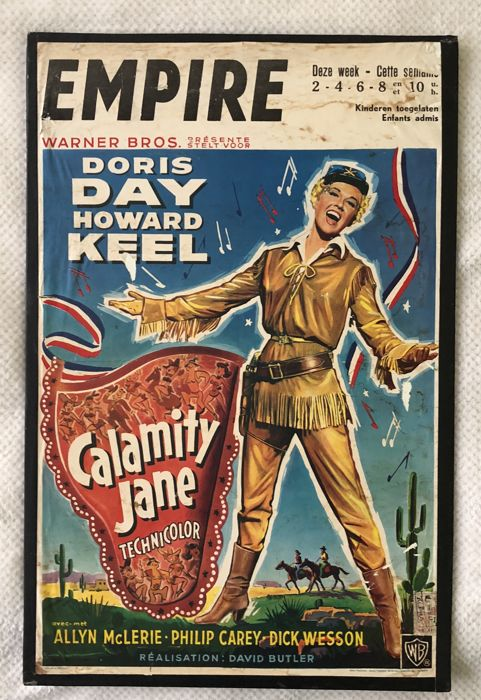 Calamity Jane - Ofiicial film poster on hardboard - 1953 - Doris Day and Howard Keel