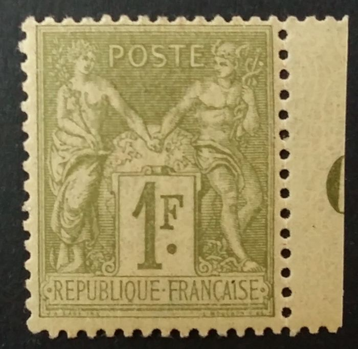 France 1883 - Sage type II, 1 fr. olive clair - Yvert 82