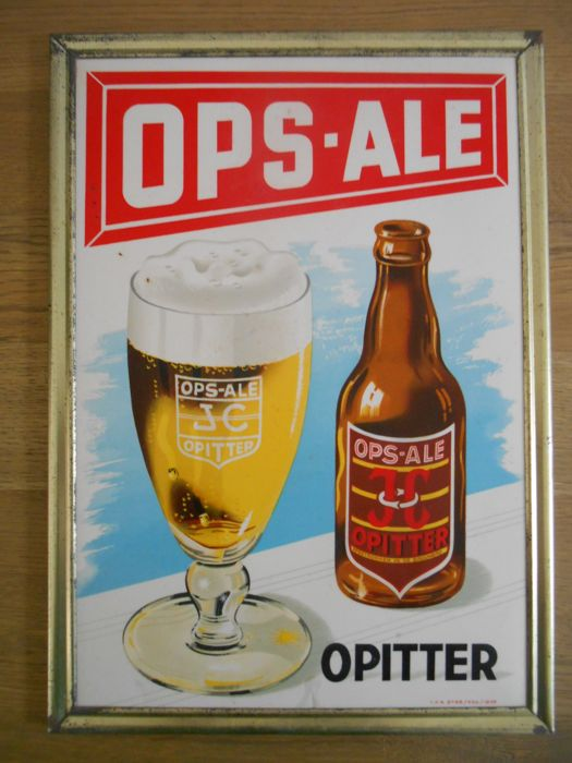 Rare advertising sign for Ops Ale from 1953