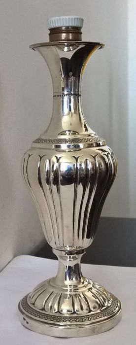 Antique stem for a table lamp in silver 800 - Italy, 1930s