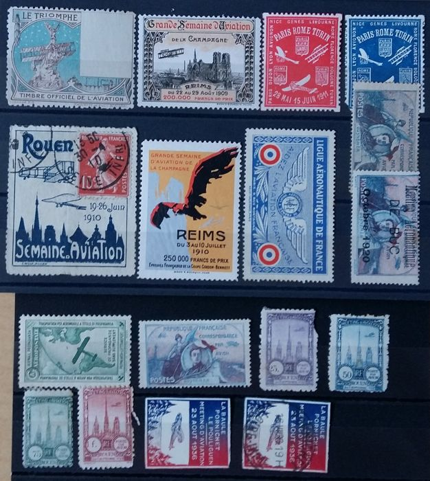 France - Airmail, stamps vignettes