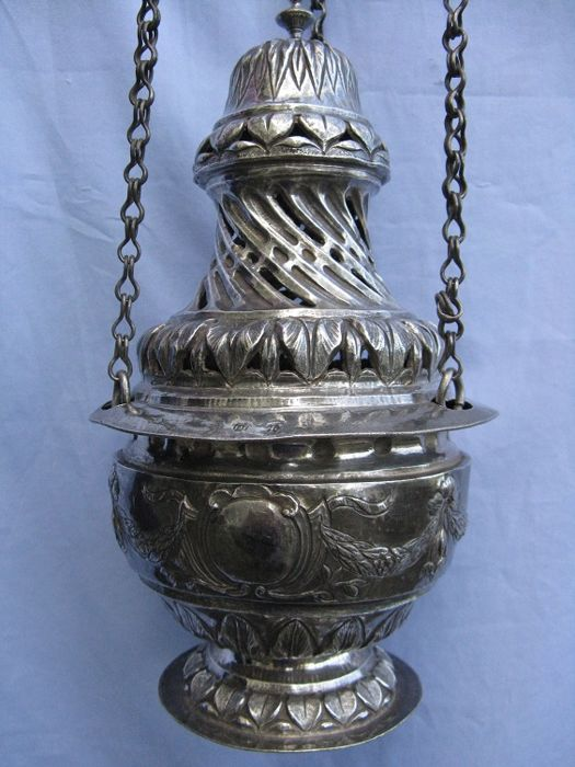 Antique silver thurible, Italy, possibly Sicily, 19th century