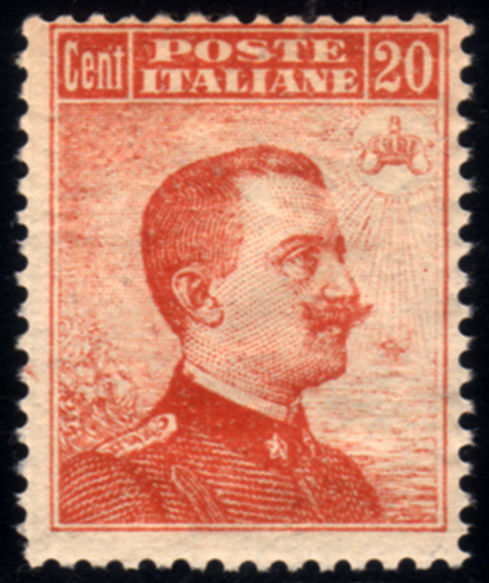 Italië 1916 - Michetti cent 20 senza Filigrana - Sassone N. 107