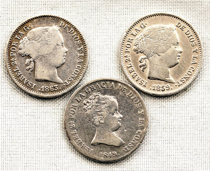 Spain - 1 Real 1849-1859-1863 Lote 3 monedas - Isabel II - Silver