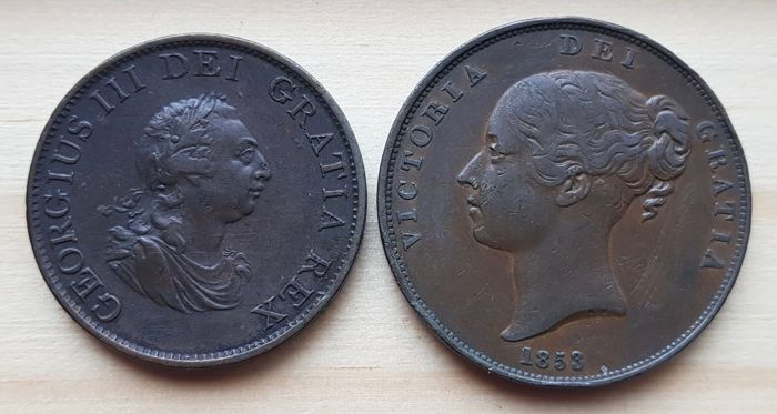 Great Britain - 1/2 Penny 1799 + Penny 1853 Victoria