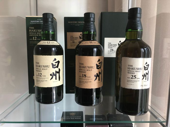 3 bottles - Hakushu Selection: 25 years old- 18 years old & 12 years old