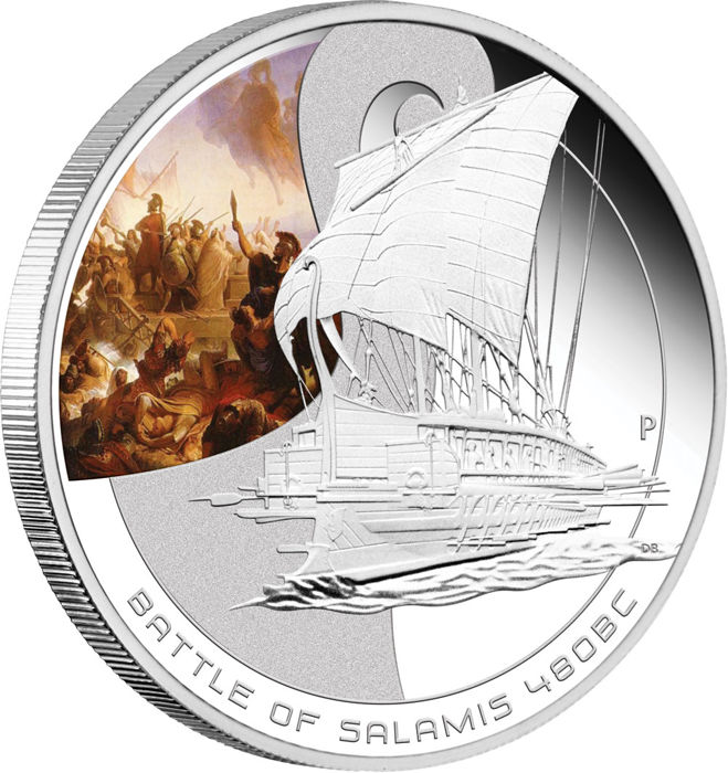 Cook Islands - 1 Dollar 2009  Battle SALAMIS 480BC with certificate - 1 Oz - Silver