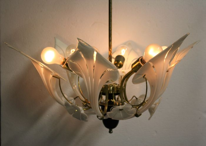 Murano style glass canna lily chandelier - six lights - 1960s - Italy