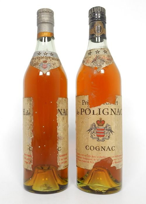 2 bottles of Prince Hubert de Polignac Cognac - three stars - mid 20th century