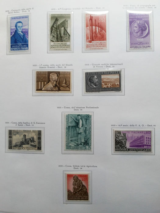 Italia Repubblica 1955/1959 - Collection of stamps on sheets (not included) - Sassone NN. 753/879