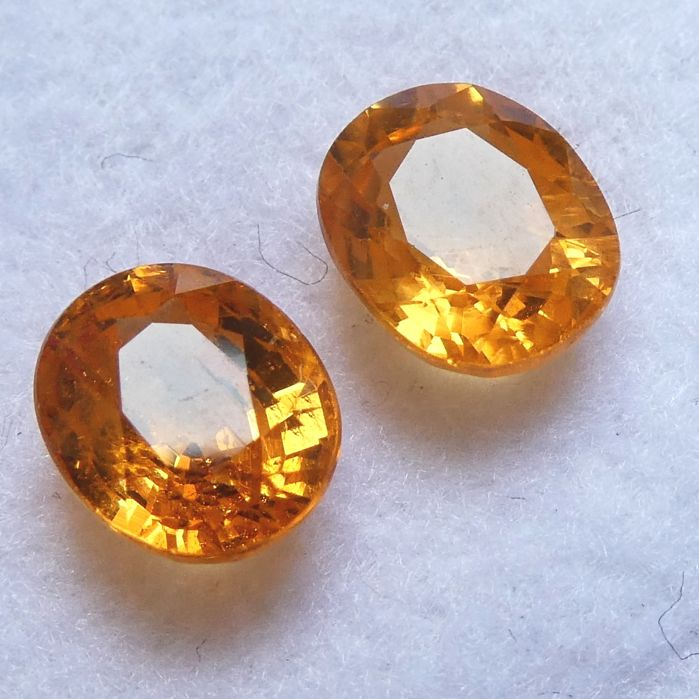 Pair of Spessartite Garnets – 2.12 ct Total – No Reserve Price