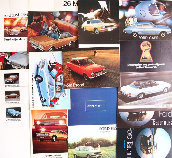 Ford - lot containing 19 brochures: Zephyr, Cortina, 17M, 20 M, 26M, Escort, Taunus, Capri en Fiësta - 1970s