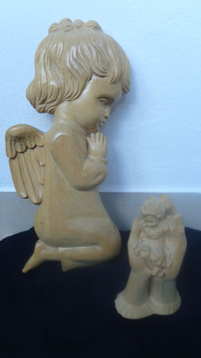 2 wooden figures - wooden sculptures - praying angel, guardian angel, wall figure - protective hand with a child