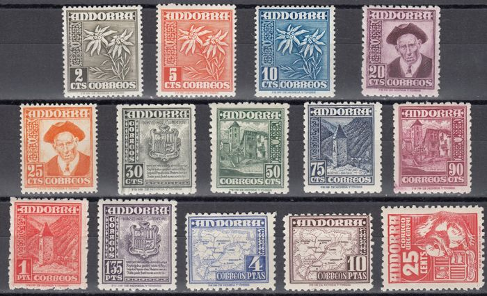 Andorra - Spanish 1948/1953 - Series Various types - Edifil 45/58
