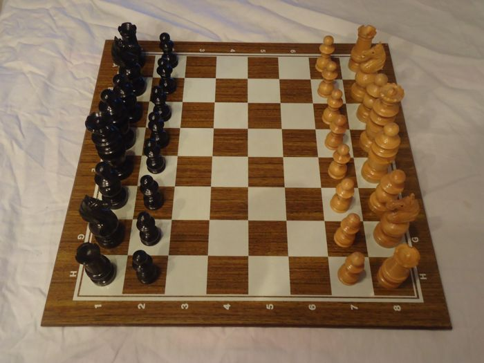 Ancient chess game carved in boxwood early 20th century