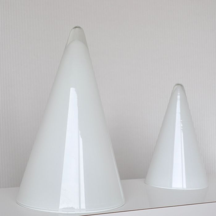 SCE France - Two milk glass conical table lamps - model TeePee - 37 cm and 27 cm