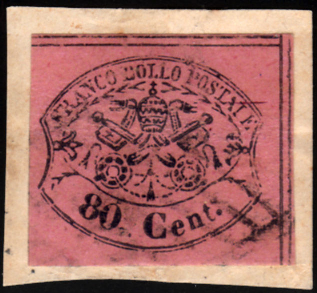 Papal State 1857 - cent 80 rosa lillaceo su frammento - Sassone N. 20