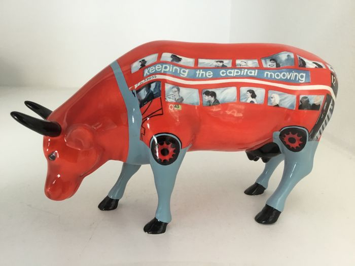Cow Parade Cowparade - Cow Bus - medium - ceramic - retired in box with tag!