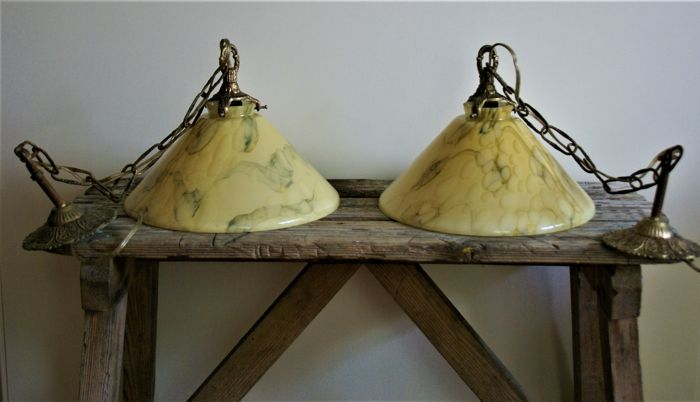A nice set of two hall/room  lamps with beautiful marbled glass shade, 1940s