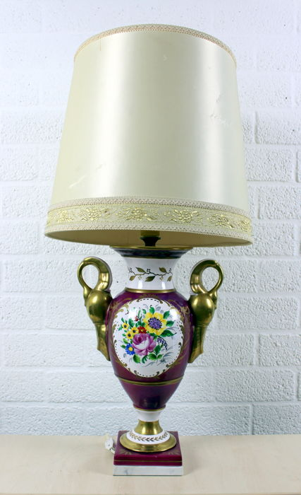 Chic table lamp with linen shade on painted porcelain Limoges vase