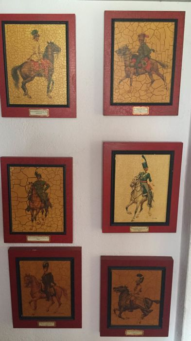 Six painted wooden images - soldiers on horses